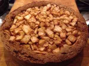 En bakt een overheerlijke appeltaart met appels uit eigen tuin!